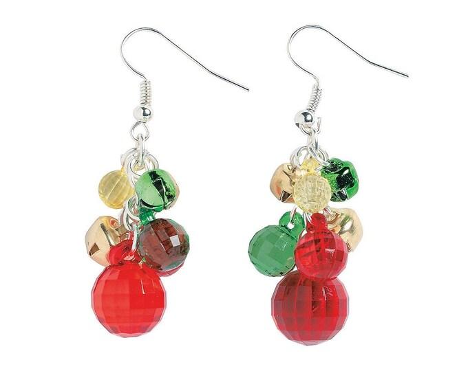 Faceted Ball & Jingle Bell Earrings