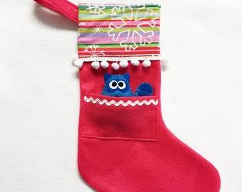 Stocking, Christmas Stocking, Pocket Stocking, Raccoon - Snow Stripe, Snowflakes, Hot Pink Stocking