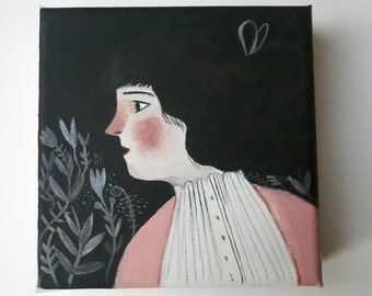 Worried lady number 2 - Original painting on canvas