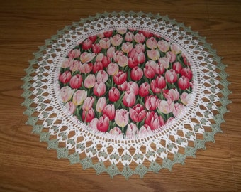 Crocheted Pink Tulip Doily Fabric Center with Crocheted Edging Large 20 inches Centerpiece