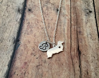 Long haired dachshund initial necklace- dachshund jewelry, doxie necklace, weenie dog jewelry, long haired dachshund jewelry, doxie jewelry