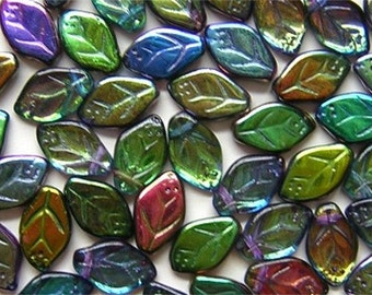 New 18 Czech Glass  Leaf Beads Amazing  'MAGIC' BLUE GREEN Color Mix 8x12mm