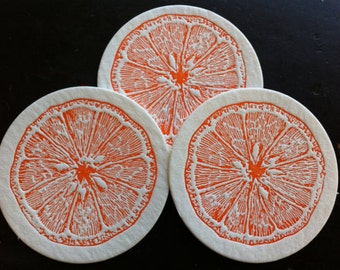 ORANGE letterpress coasters - Set of 10