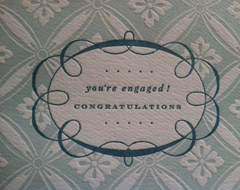 You're engaged! Congratulations - Letterpress folding card