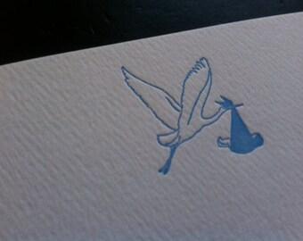 Blue Stork - Letterpress baby announcement/shower/congratulations flat card
