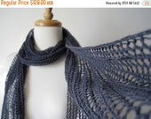 Sale Hand Knit Lace Scarf in Slate Gray - the Lightweight Lazslo Scarf in Pure Cotton - Lightweight Summer/All Season Scarf