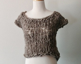 Prefall Sale Post-Apocalyptic Shetland Sweater 2 - Natural Grey Rustic Wool, Bamboo, Hemp. Textured Knit Bulky Sweatervest, Fall Fashion, Dy