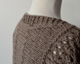 Open Front Lace Cardigan Sweater in Natural Brown Wool - Hand Knit, Indie Made, Original Design, Earthy, Mori Girl, Pure Wool