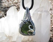Raw Moldavite Pendant, Wire Wrapped Pendant, Heady Wire Wrap, Wire Wrap, Sterling Silver