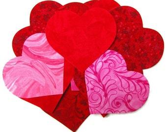 Diecut 15 HEARTS, DIY,  assorted, Iron on appliques,  TEMPORARILY Fused 100% premium cotton fabric, Precision die cut
