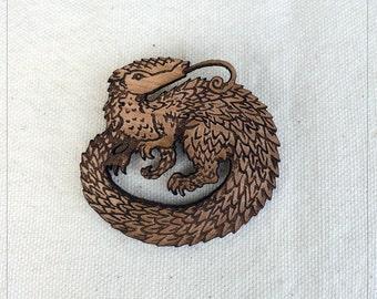 Pangolin pin in alder wood - scaled anteater