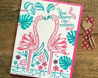 Ruffle Feathers Flamingo Letterpress Card