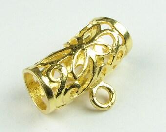 Vermeil Bail, Gold Vermeil over Bali Sterling Silver Flower Filigree Tube Slide Bail (1 piece)