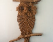 MASSIVE 3 Foot Tall 1970's Vintage Macrame Owl Hanging with Driftwood and Wood Eyes
