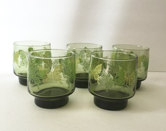 Butterfly Juice Glass Set in Olive Green by Libbey Glass Set of Five