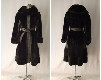 Full Length Winter Trench Coat Leather and Faux Fur 1970's French Glam Small Medium Tissavel France