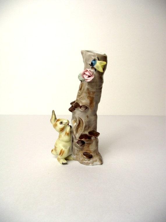 Darling Bunny Bud Vase Woodland Creatures Fenton Ceramic