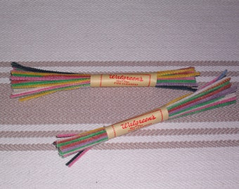 2 Packs Vintage Chenille Pipe Cleaners NOS Walgreens 6 Dozen