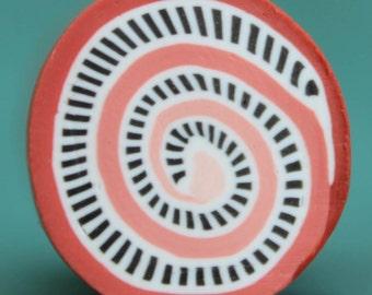 Coral-Orange Spiral Dash Polymer Clay Cane -'Mystical Meadow' (12ee)