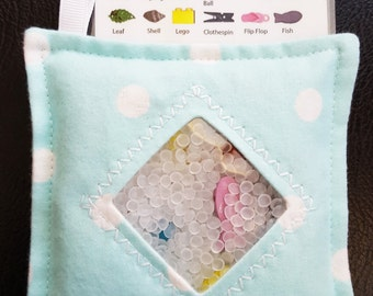 I Spy Bag - Mini with SEWN Word List and Detachable PICTURE LIST- Mint Green with White Polka Dots