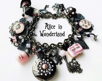 Alice in Wonderland Gunmetal and Pink Glow in the Dark Charm Watch Bracelet