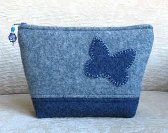 Butterfly Zippered Pouch, Upcycled Felted Sweater Wool Clutch in Denim Blue