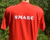 vintage 80s tee shirt SMARC fuzzy flock lettering ham RADIO t-shirt Large XL red funny wtf
