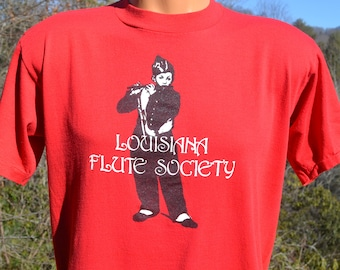 vintage t-shirt 80s louisiana FLUTE society rock music band soft tee shirt Large Medium red