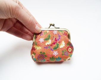 Coin purse, Japanese cotton fabric, pink and gold