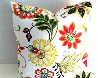 ENDING SOON One Floral Throw Pillow-Richloom Fabrics-Pillow Cover - Invisible Zipper Closure-Popular Cushion-Sofa Pillows-White-Orange-Red-G