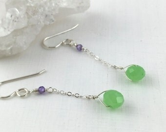 March Birthstone, Aquamarine Gemstone, Dainty Silver Earrings, Minimalist Earrings Silver, Multi-gemstones, Colorful Gemstones