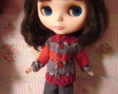 Blythe Red and Gray Striped Sweater for Pullip and Vintage Skipper Too!