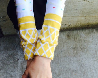 Leg and Arm Warmers for Boys and Girls - Ice Cream Dream Design for Baby, Toddler, Kid and Tween - Great Baby Shower or Birthday Gift