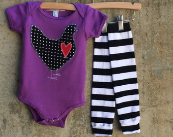 Baby Bodysuit and Leg Warmer Set for Boys or Girls - Black and White Dot Chicken Love - You Choose Onesie Color - Fun Birthday, Shower Gift