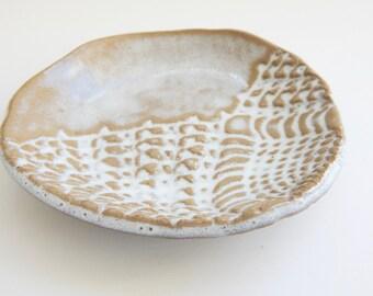 Lace prep bowls - cottage decor- jewelry dishes- sauce bowls - lace pottery- lace bowls- food prep- serving bowls- white pottery- lace dish