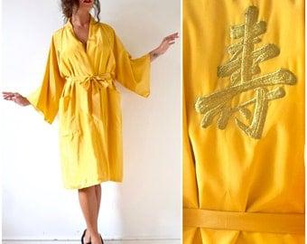 SPRING SALE/ 20% off Vintage 70s 80s Golden Yellow Kimono Dressing Robe