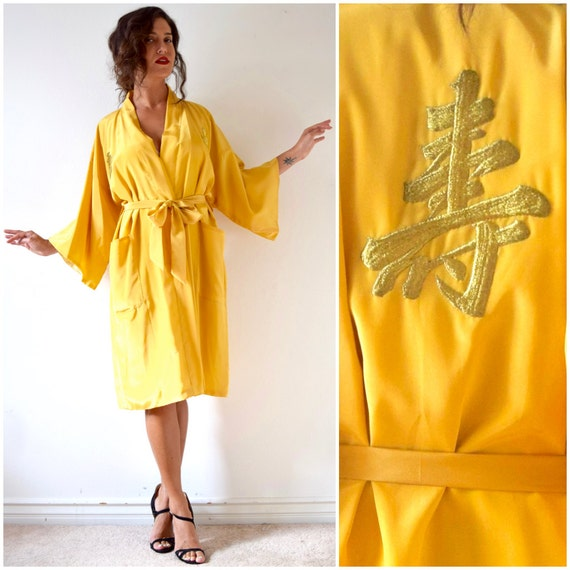 SUMMER SALE/ 30% off Vintage 70s 80s Golden Yellow Kimono Dressing Robe