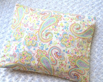 The Perfect Toddler Pillow ... Pretty Pink Blue Green Paisley Floral on White Smooth Cotton ... Original Design by Sew Cinnamon