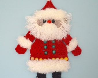Santa Christmas Decoration - Wall or Door Hanging - Large Macramé Figure with Jingle Bells and Beaded Detail (1)