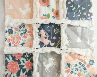 Unicorn Minky Rag Quilt Lovey - Unicorn Lovey with Florals, Navy Blue, Peach, Coral, & Gray - Unicorn Baby Shower Gift - Gift For Baby Girl