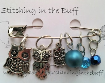 owl and jewel stitch markers in mixed sizes