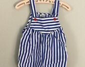 80s 90s Blue Striped Sunsuit Romper Size 6-9 months