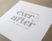Ever After PRINT, Wedding Sign, Wedding Gift, Valentine Gift, Custom Art, Typography Wall Art, Anniversary Gift, Home and Living