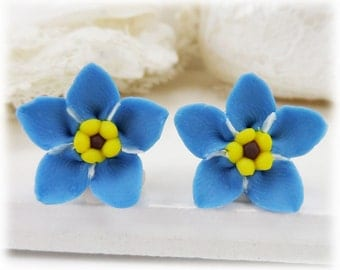 Blue Forget Me Not Earrings Stud or Clip On - Forget Me Not Jewelry