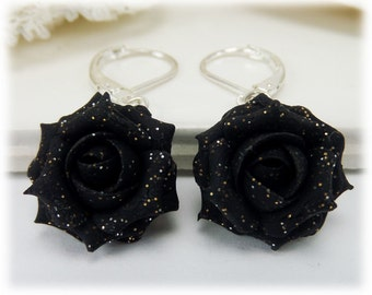 Black Glitter Rose Dangle Earrings - Black Glitter Flower Drop Earrings