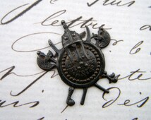 RUSTY BLACK (1 Piece) Medieval Ancient Sword Crest Shield Stampings (D-292)