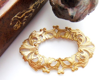 BRASS Large Oval Scroll Filigree Ornate Stamping - Jewelry Findings (C-1001)