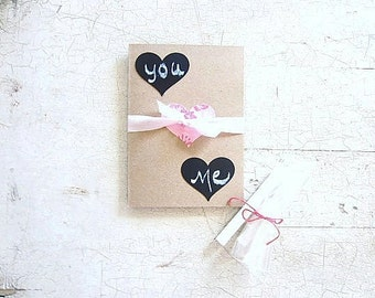 Valentine Card, Customize Chalkboard Hearts, Winter Wedding, Engagement Card