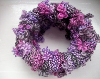 Knitted neck warmer, cosy cowl, warm collar, pink, purple, grey textured floral effect