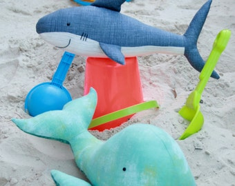 Landlubbers: whale and shark sewing pattern beginner friendly